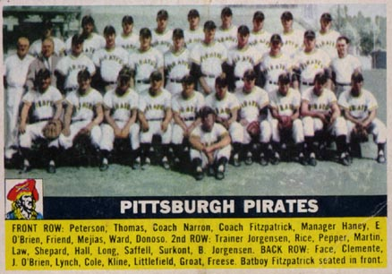 1956 Topps Pittsburgh Pirates Team #121 Baseball Card