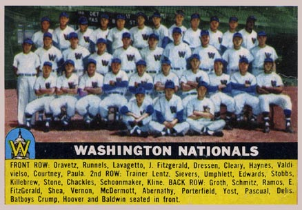 1956 Topps Washington Nationals Team #146g Baseball Card