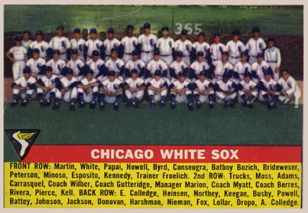 1956 Topps Chicago White Sox Team #188 Baseball Card
