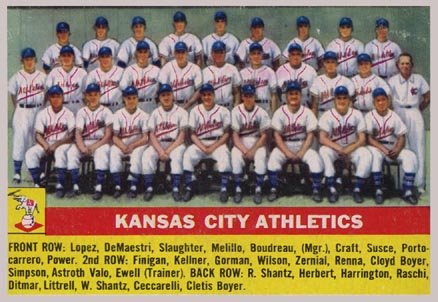 1956 Topps Kansas City Athletics Team #236 Baseball Card