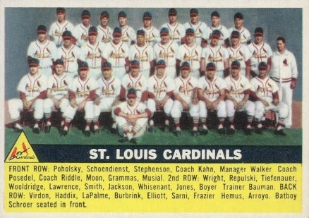 1956 Topps St. Louis Cardinals Team #134w Baseball Card