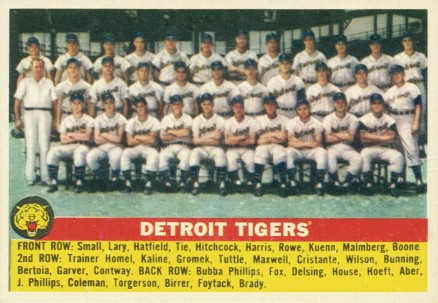 1956 Topps Detroit Tigers Team #213 Baseball Card