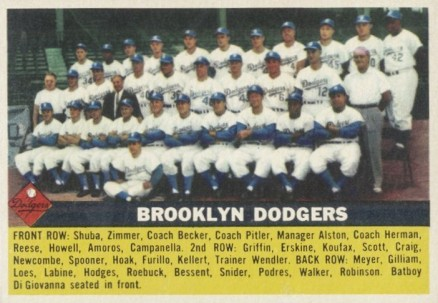 1956 Topps Brooklyn Dodgers Team #166 Baseball Card
