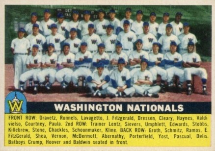 1956 Topps Washington Nationals Team #146 Baseball Card