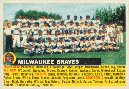 1956 Topps Milwaukee Braves Team #95-left Baseball Card