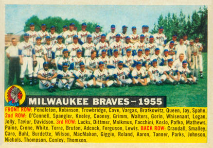 1956 Topps Milwaukee Braves Team #95-date Baseball Card