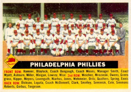 1956 Topps Philadelphia Phillies Team #72w-center Baseball Card