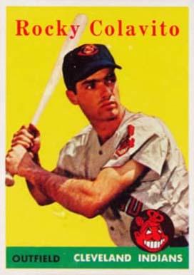 1958 topps rocky colavito 368 baseball card value price guide