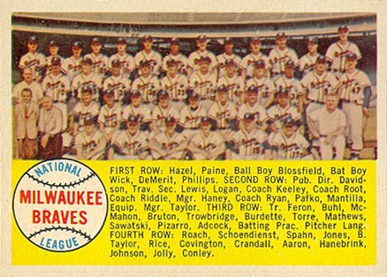 1958 Topps Milwaukee Braves Team #377alpha Baseball Card