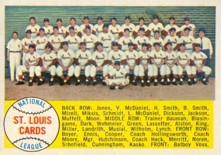1958 Topps St. Louis Cardinals Team #216 Baseball Card