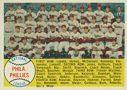1958 Topps Philadelphia Phillies Team #134 Baseball Card