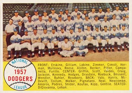 1958 Topps Los Angeles Dodgers Team #71 Baseball Card