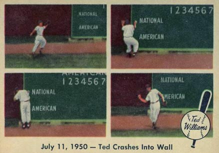1959 Fleer Ted Williams July 11, 1950- Ted Crashes Into Wall #40 Baseball Card