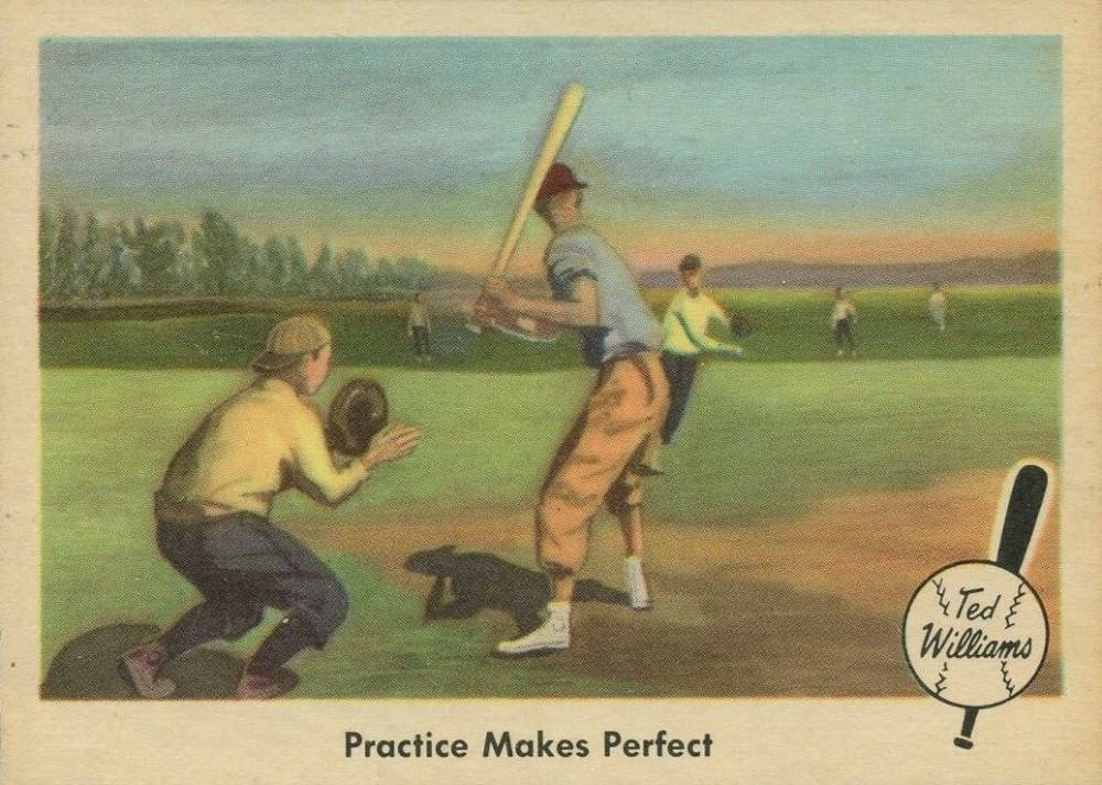 1959 Fleer Ted Williams Practice Makes Perfect #3 Baseball Card