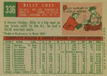 1959 Topps Billy Loes #336t Baseball Card