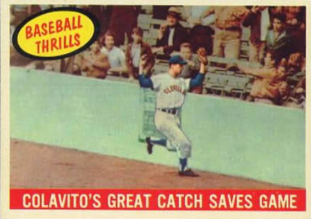1959 Topps Colavito's Great Catch Saves Game #462 Baseball Card