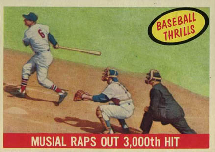 1959 Topps Musial Raps Out 3,000 Hit #470 Baseball Card