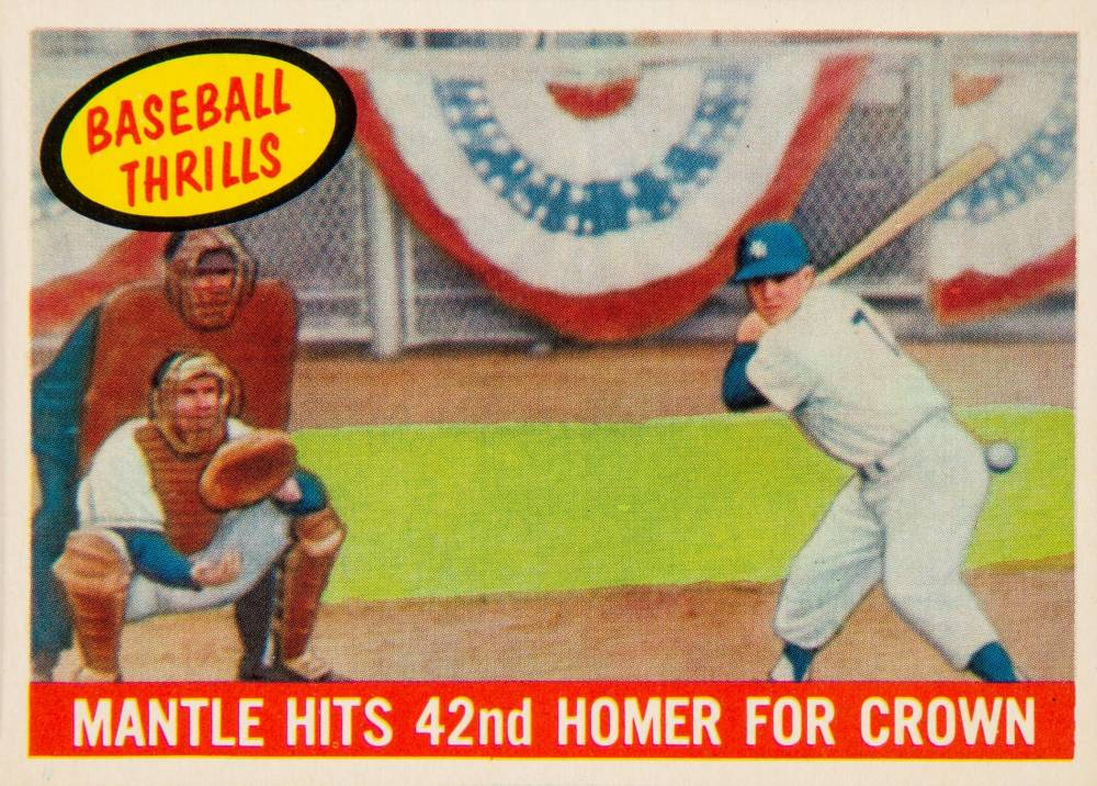 1959 Topps Mantle Hits 42nd Homer for Crown #461 Baseball Card