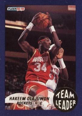 af9214af71 1992 Fleer Team Leaders Hakeem Olajuwon #10 Basketball Card Value ...