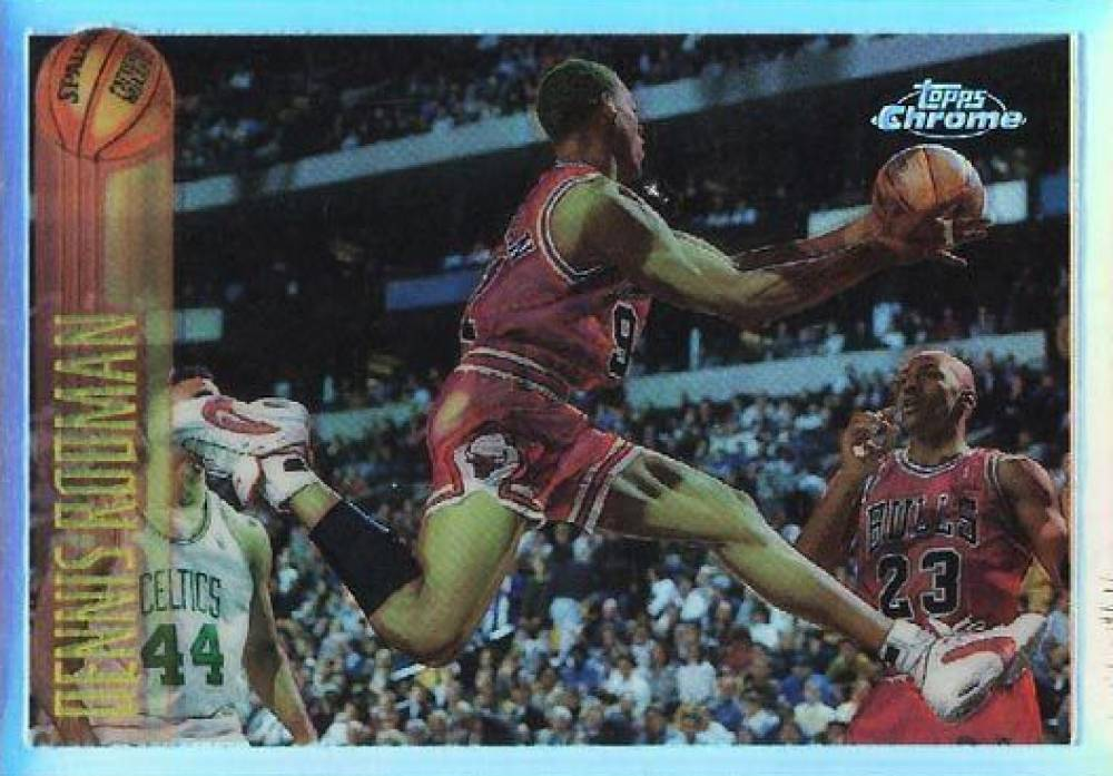 1996 Topps Chrome Refractor Dennis Rodman #176 Basketball Card