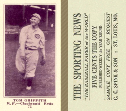 1916 Sporting News Tom Griffith #73 Baseball Card