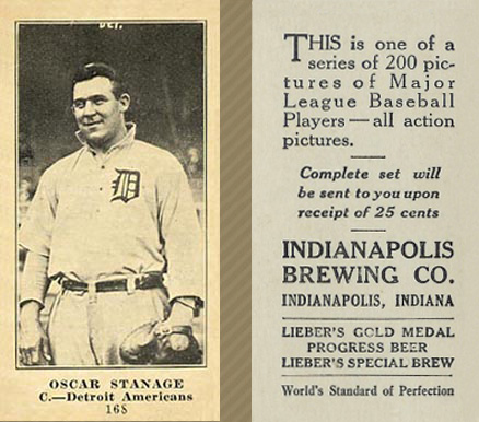 1916 Indianapolis Brewing Oscar Stanage #168B (Portrait) Baseball Card