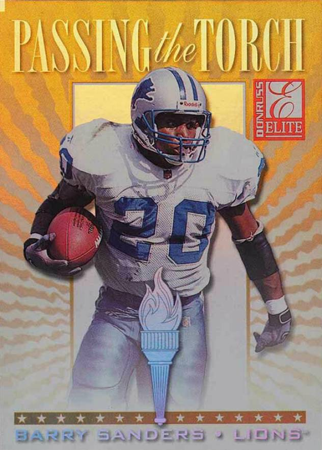 1999 Donruss Elite Passing the Torch Barry Sanders #6s Football Card