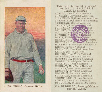1909 C. A. Briggs (Color) Cy Young #32 Baseball Card
