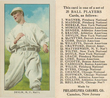 1909 Philadelphia Caramel Art Devlin #8 Baseball Card