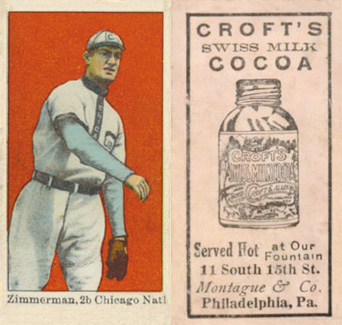 1909 Croft's Cocoa Heinie Zimmerman #50 Baseball Card