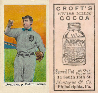 1909 Croft's Cocoa Wild Bill Donovan #16 Baseball Card