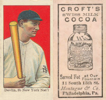 1909 Croft's Cocoa Art Devlin #15 Baseball Card
