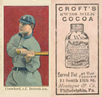 1909 Croft's Cocoa Sam Crawford #13 Baseball Card