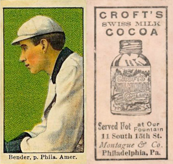 1909 Croft's Cocoa Chief Bender #3 Baseball Card