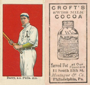 1909 Croft's Cocoa Jack Barry #1 Baseball Card