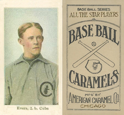 1910 American Caramel Chicago Evers, 2.b. Cubs #7 Baseball Card