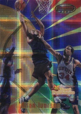 1997 Bowman's Best Atomic Refractor Allen  Iverson #98 Basketball Card