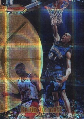1997 Bowman's Best Atomic Refractor Kevin Garnett #90 Basketball Card