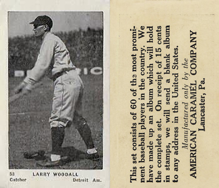 1927 American Caramel--Series of 60 Lawrence Woodall #53 Baseball Card