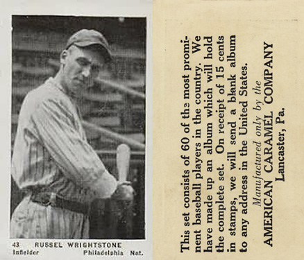 1927 American Caramel--Series of 60 Russell Wrightstone #43 Baseball Card