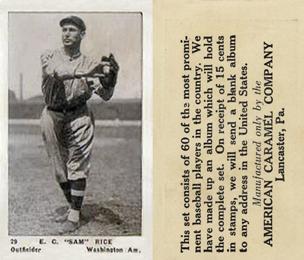 "1927 American Caramel--Series of 60 E.C. ""Sam"" Rice #29 Baseball Card"