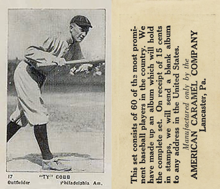 1927 American Caramel--Series of 60 Ty Cobb #17 Baseball Card
