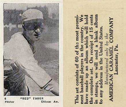 "1927 American Caramel--Series of 60 ""Red"" Faber #6 Baseball Card"