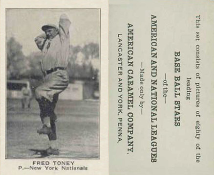 1921 American Caramel--Series of 80 Fred Toney #121 Baseball Card