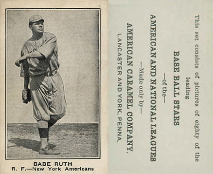 1921 American Caramel--Series of 80 Babe Ruth #94 Baseball Card