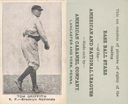 1921 American Caramel--Series of 80 Tom Griffith #40 Baseball Card