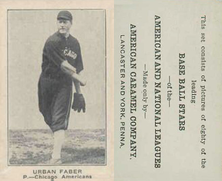 1921 American Caramel--Series of 80 Urban Faber #28 Baseball Card
