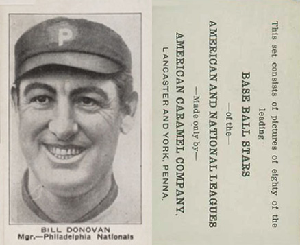 1921 American Caramel--Series of 80 Bill Donovan #24 Baseball Card
