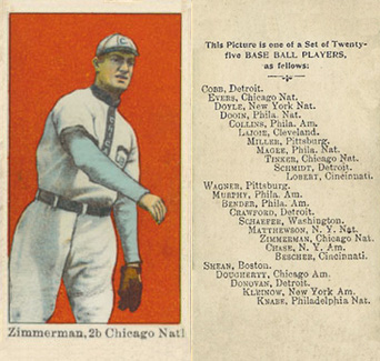 1908 Anonymous Heinie Zimmerman #29 Baseball Card