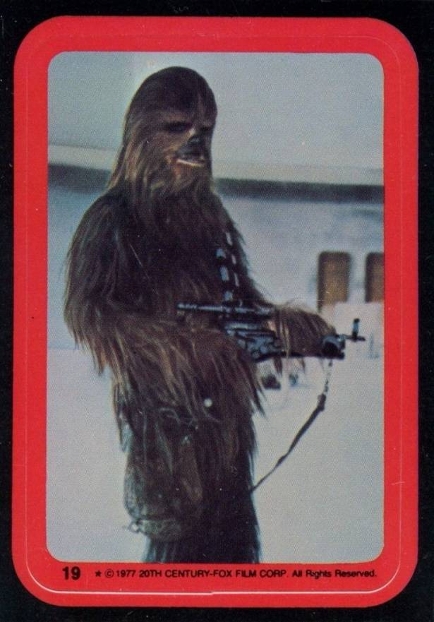 1977 Star Wars Stickers The Wookie Chewbacca #19 Non-Sports Card